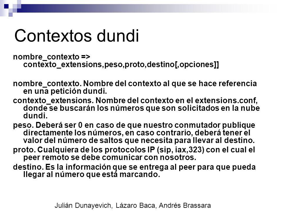 Contextos dundi nombre_contexto => contexto_extensions,peso,proto,destino[,opciones]]